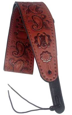 Levys PM44T03 3 Inch Carving Leather Strap with Paisley Pattern