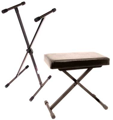 World tour single x keyboard stand deluxe bench package Keyboard stand and bench
