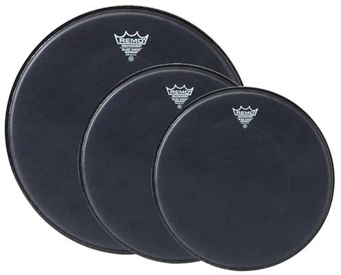 Remo Black Suede Emperor Tom Drum Head Package 2
