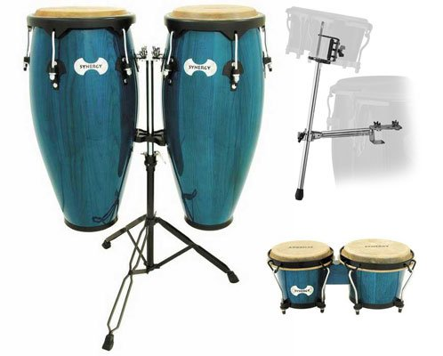 Toca Synergy Wood Conga Drums Package with Stand