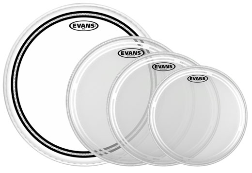 Evans EC2S Rock Clear Tom Drum Head Package 2