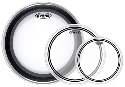 Evans EMAD2 Bass and EC2S Rock Clear Drum Head Package