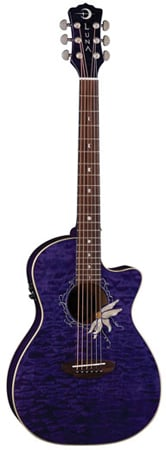 Luna FLOFPQM Flora Passionflower Acoustic Electric Guitar