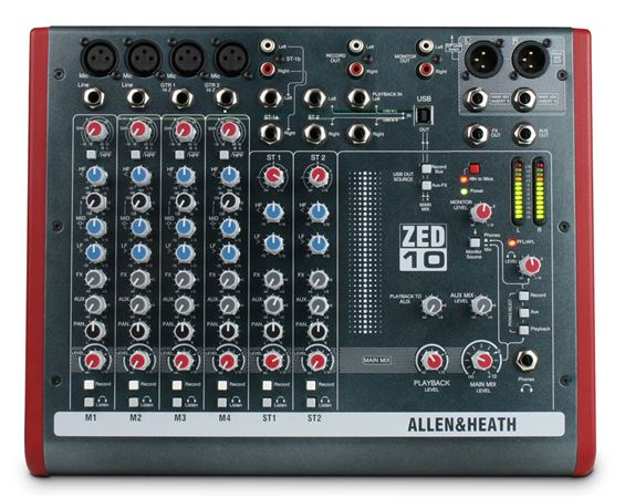 Allen & Heath ZED10 10 Channel Multipurpose Mixer With USB