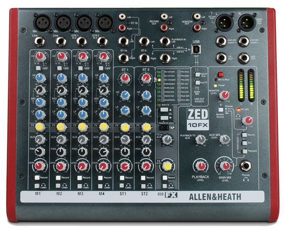 Allen & Heath ZED10FX 10 Channel Multipurpose Mixer With USB And FX