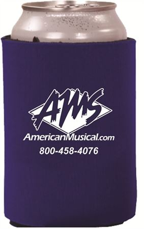 Blue Can Koozie with White AMS Logo