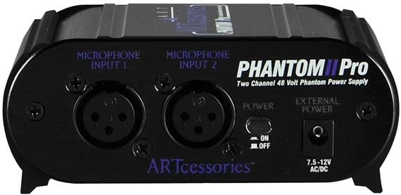 ART PHANTOM2 Pro Two Channel 48 volt Microphone Phantom Power Supply