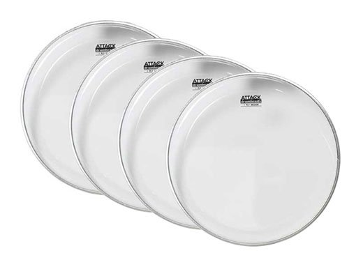 Attack 1-Ply Medium Clear Drum Head 4 Piece Pack