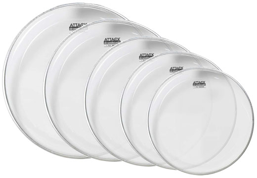 Attack 1-Ply Medium Clear Drum Head 5 Piece Pack