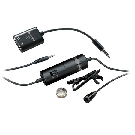 Audio-Technica ATR3350iS Omni Condenser Lavalier Mic for Smartphones