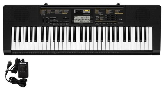 Casio CTK2400 61 Key Portable Keyboard with Power Supply