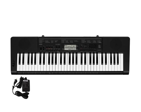 Casio CTK3200 61 Key Portable Keyboard with Power Supply