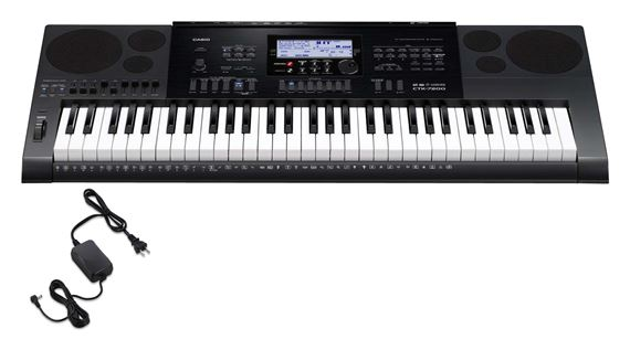 Casio CTK7200 61 Key Portable Keyboard with Power Supply