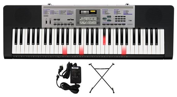 Casio LK175 61 Key Lighted Portable Keyboard with Power Supply and Stand