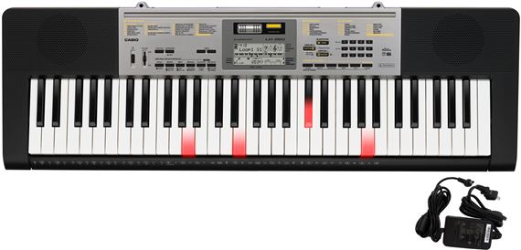 Casio LK260 61 Key Lighted Portable Keyboard with Power Supply