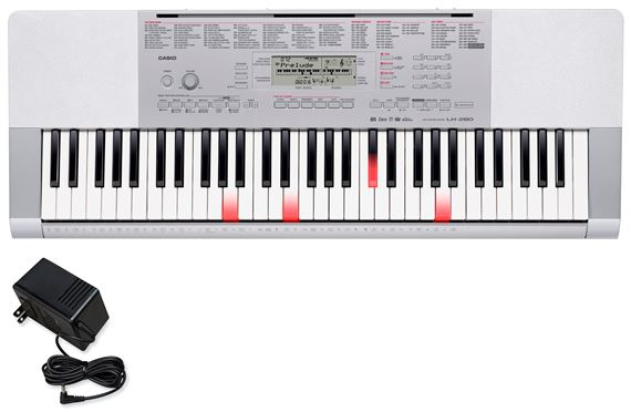 Casio LK280 61 Key Lighted Portable Keyboard with Power Supply