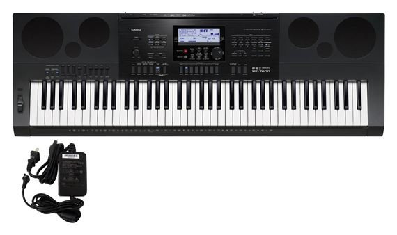 Casio WK7600 76 Key Workstation Keyboard with Power Supply