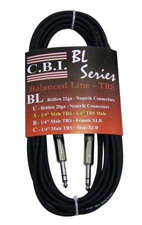 CBI BL2A10 1/4 Inch TRS to 1/4 Inch TRS Balanced Cable