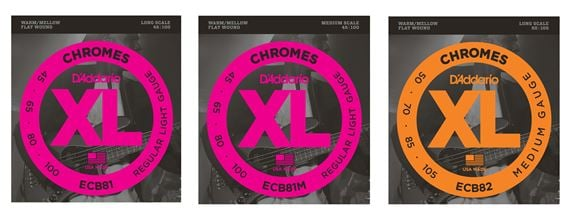 D'Addario ECB81 XL Chromes Flatwound Electric Bass Guitar Strings