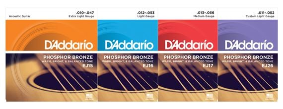 D'Addario EJ Series Phosphor Bronze Acoustic Guitar Strings