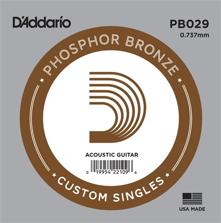DAddario PB Phosphor Bronze Wound Single Acoustic Guitar Strings