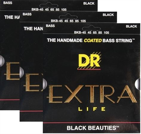 DR Strings BKB45 Black Beauties Coated Bass Strings 3 Pack