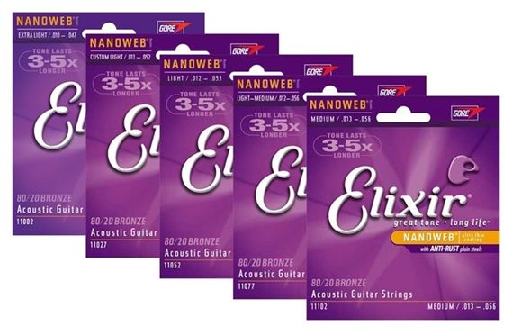 Elixir 11052 NanoWeb 80/20 Bronze Acoustic Guitar Strings