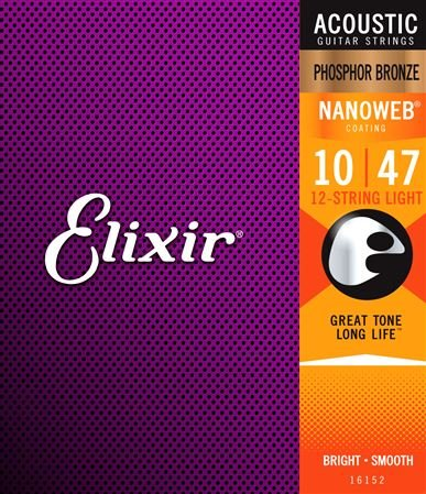 Elixir 16152 NanoWeb Phosphor Bronze Acoustic Guitar Strings 12 String