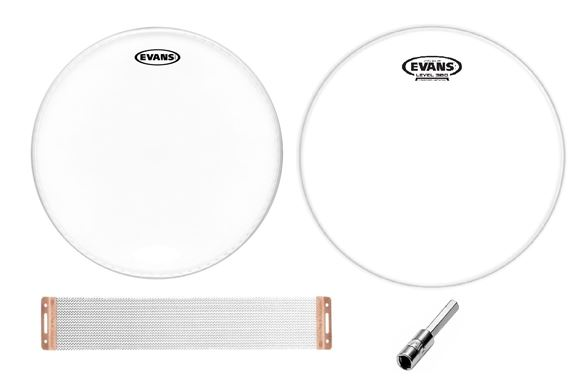 "Evans G1 Coated 14"" Head and Hazy 300 Snare Head with Snare Wires and Drum Key"