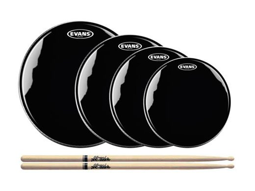 Evans Hydraulic Black Drum Heads and Drum Stick Package