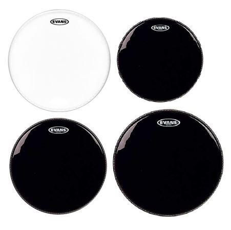 Evans Black Hydraulic and Genera G1 Coated Drum Head Package