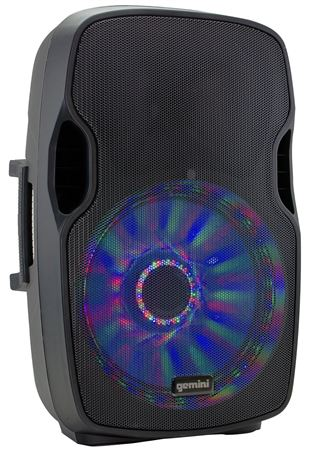 Gemini AS 15BLU LT Powered Loudspeaker with LED Lights