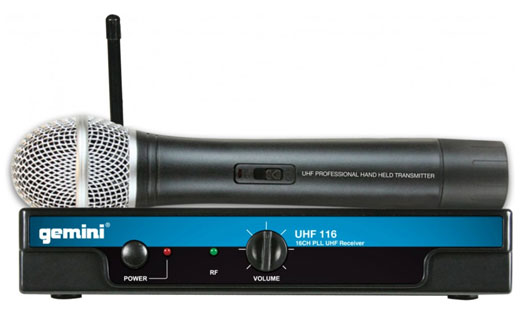 Gemini UHF116M Handheld Wireless Microphone System