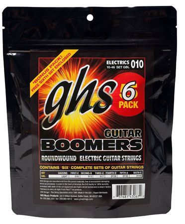 GHS Electric Guitar Strings Boomers 5 Pack with Free Set