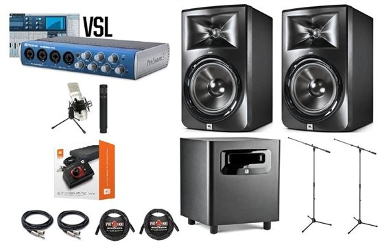 JBL LSR308 Monitors LSR310S Sub and PreSonus AB44VSL Recording Pack