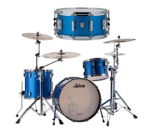 Ludwig Classic Maple 4Pc Blue Sparkle 32 Free Snare Drum