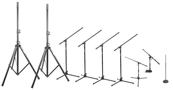 On Stage Club Pack 2 Microphone and Speaker Stand Package