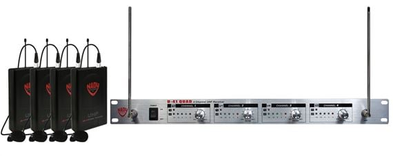 Nady U-41 QUAD 4 Channel UHF Lavalier Wireless Mic System
