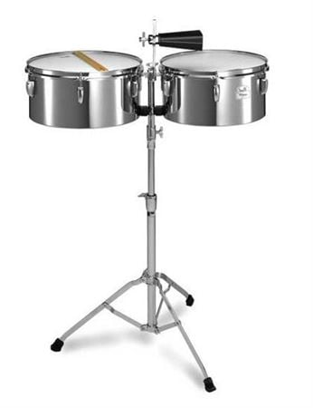 Pearl PTS5134 Primero Steel Timbale Set With Cowbell Sticks and Stand