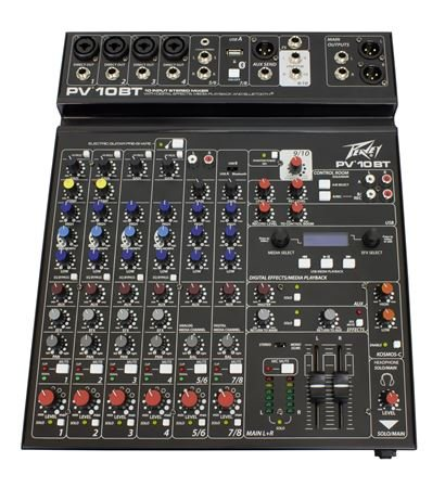Peavey PV10BT 10 Channel Stereo Mixer with Compression and Bluetooth
