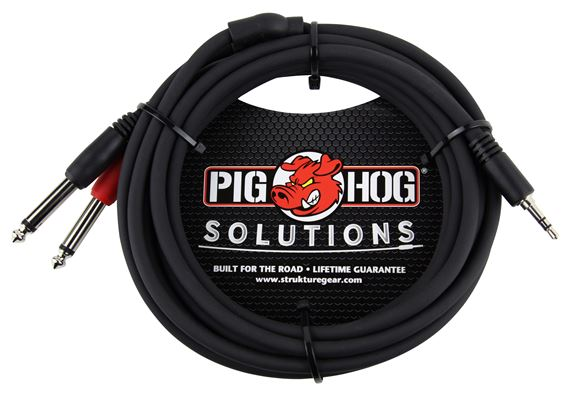 Pig Hog Solutions 3.5mm to Dual 1/4 Inch Stereo Breakout Cable