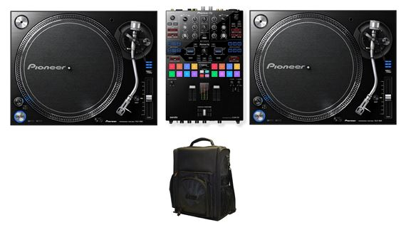 Pioneer DJMS9 DJ Mixer with Gator Case and PLX1000 Turntable Pair