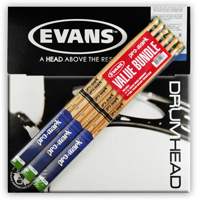 ProMark TX5AW Drum Sticks and Evans B14G1 Snare Head Bundle