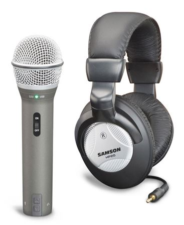 Samson Q2U Dynamic USB Microphone with HP20 Headphones