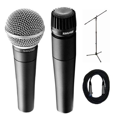 Shure SM57 and SM58 Microphone Pack With Boom Stand And 20' Cable