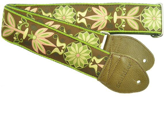 "Souldier 2"" Seatbelt Guitar Strap Daisy Olive"