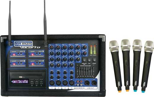 VocoPro PA MAN 4 Channel Wireless Microphone Powered Mixer
