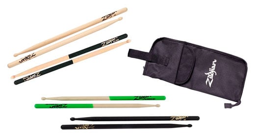 Zildjian 5A Wood Tip Drum Stick Sampler Package with Stick Bag