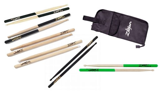 Zildjian 5B Sampler Drum Stick Package with Drum Stick Bag