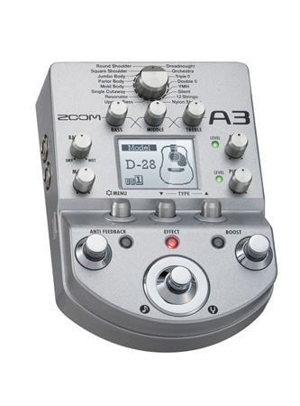 Zoom A3 Acoustic Guitar Preamp and Effects Processor Pedal